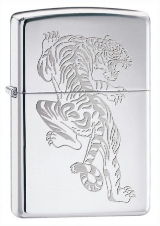835348 HI POLISH CHROME TIGRE ZIPPO LIGHTER