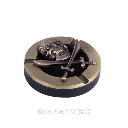 Skull Design Round Metal Plastic Smokeless Ashtray