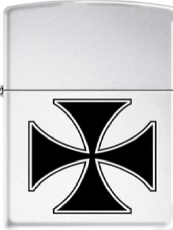861286--ZIPPO HIGH POLISH CHROME FINISH IRON CROSS ZIPPO LIGHTER