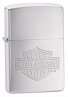 200HDH199 HARLEY-DAVIDSON LOGO BRUSHED CHROME ZIPPO LIGHTER