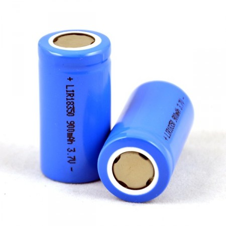 RECHARGEABLE 3.7V 18350 900mAh BATTERY.